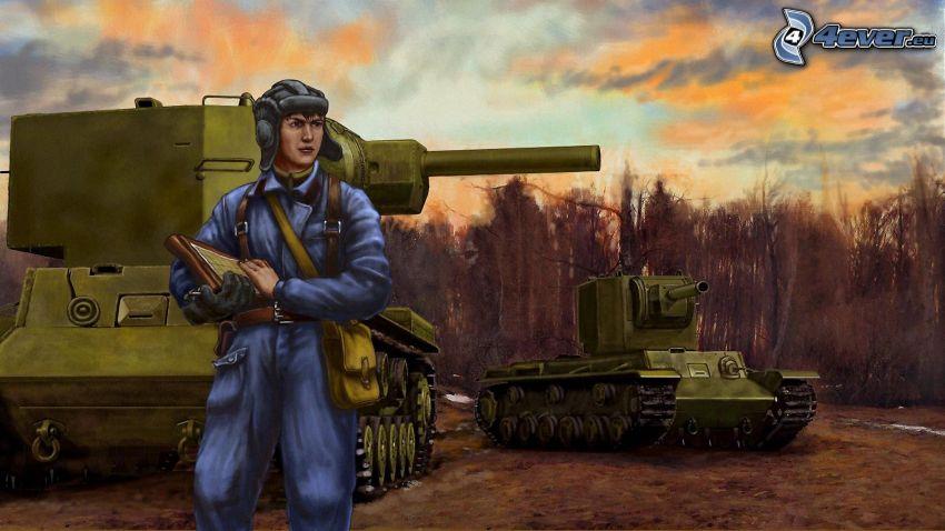 soldado, tanques
