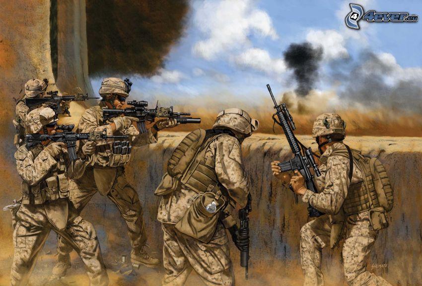 soldados, armas