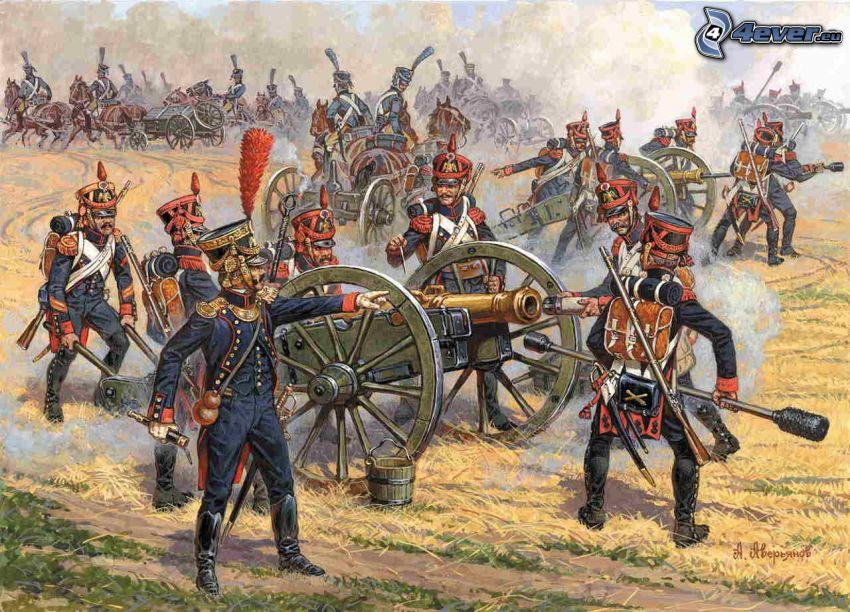 soldados, cañón, Napoleon Bonaparte