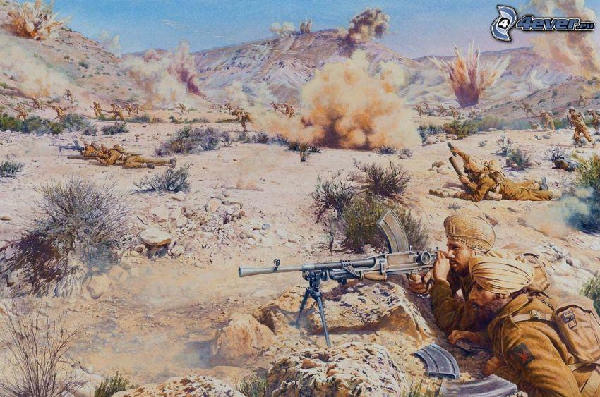 soldados, explosión, guerra
