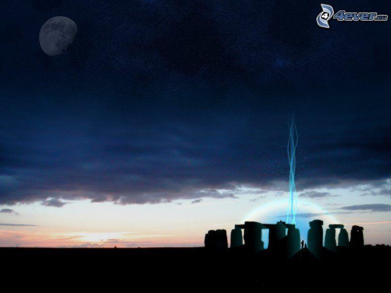 Stonehenge, siluetas, atardecer