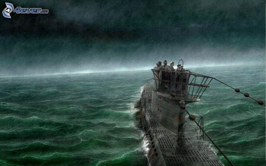 submarino, mar