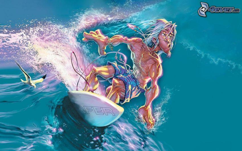 surfista, ola, gaviota