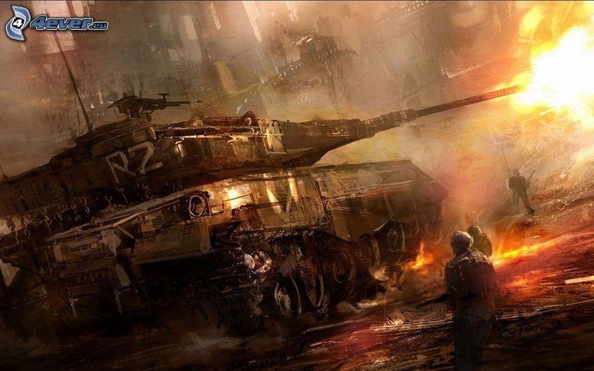 tanque, disparo, soldados