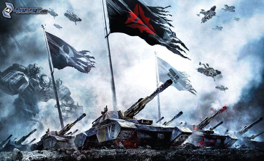 tanques, banderas