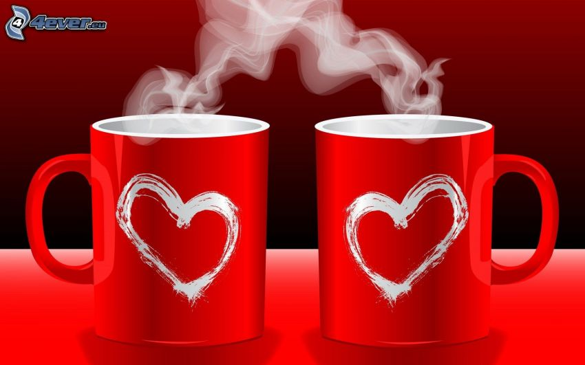 tazas, vapor, corazones