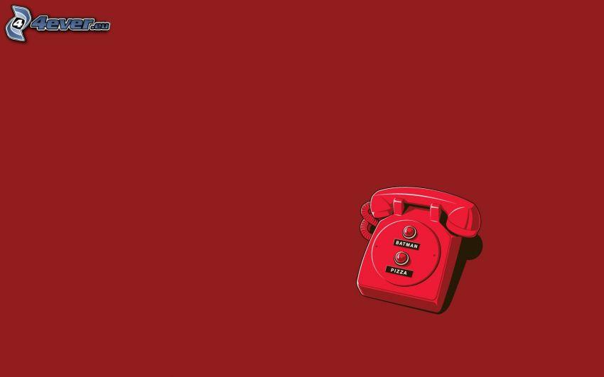 teléfono, Batman, pizza, fondo rojo