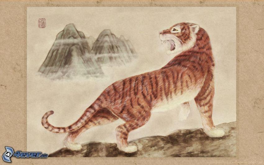 tigre, dibujo