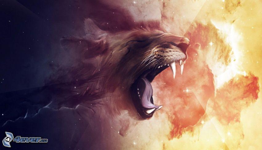 tigre, rugido, morro