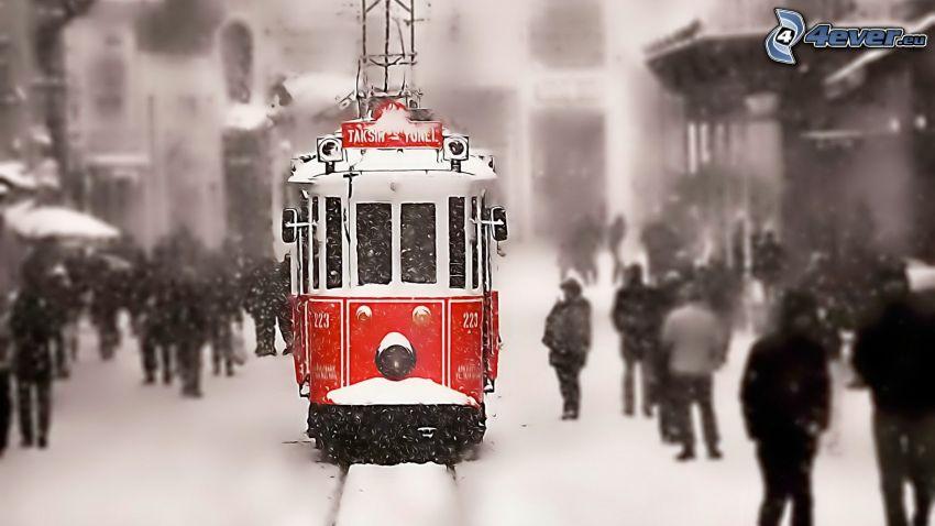 tranvía, personas, nieve