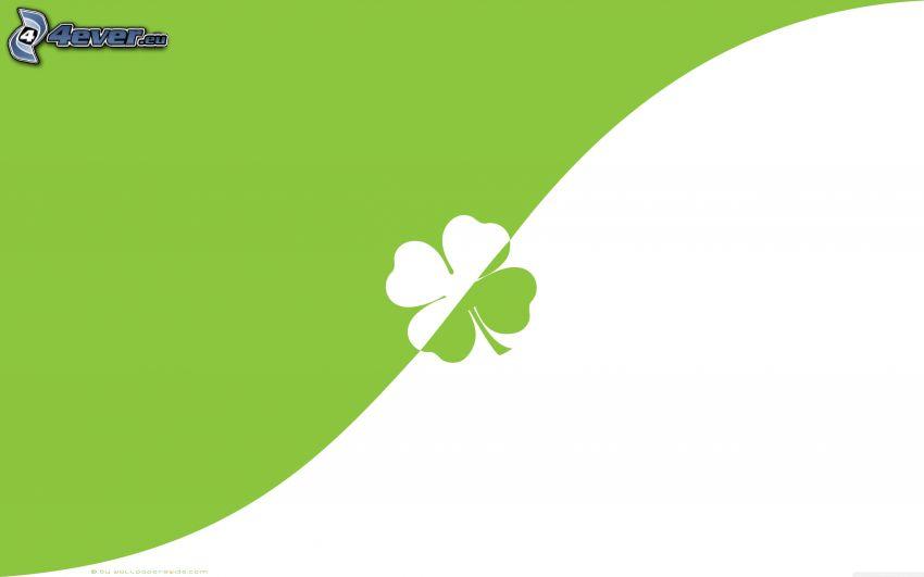 trébol de cuatro hojas, fondo verde