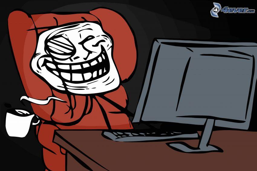 troll face, pantalla, taza de café