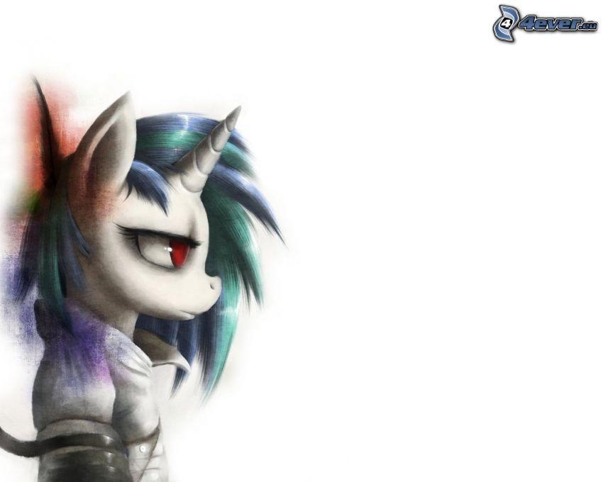 unicornio, ojos rojos