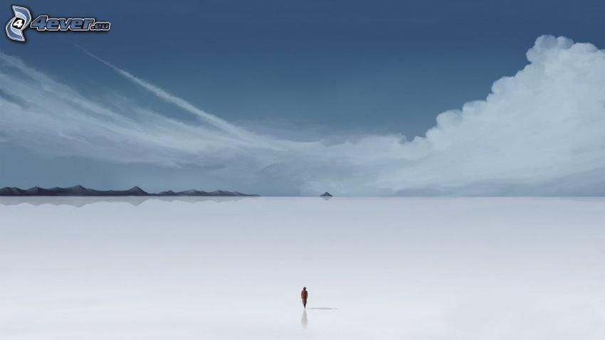 valle, hombre, soledad, nubes