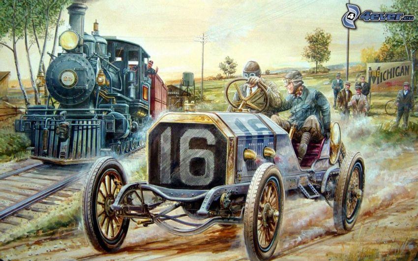 veterano, tren de vapor, carreras