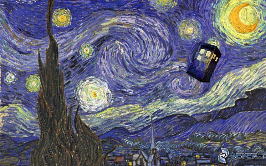 Vincent Van Gogh - La noche estrellada, parodia, paisaje de dibujos animados