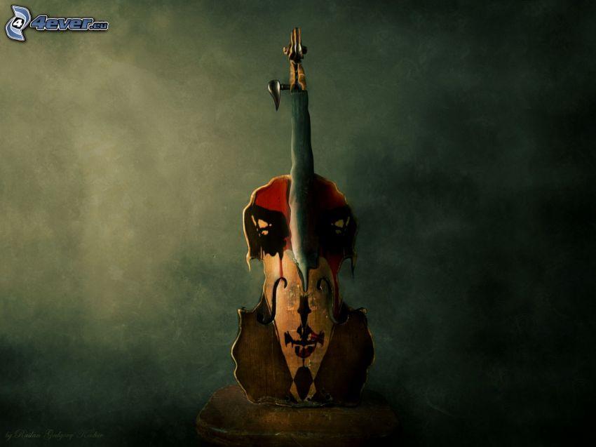 violín, dibujo, arte