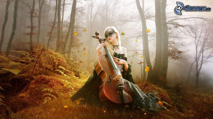violinista, niebla en el bosque