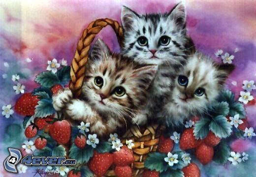 gatitos en una cesta, fresas, dibujos animados