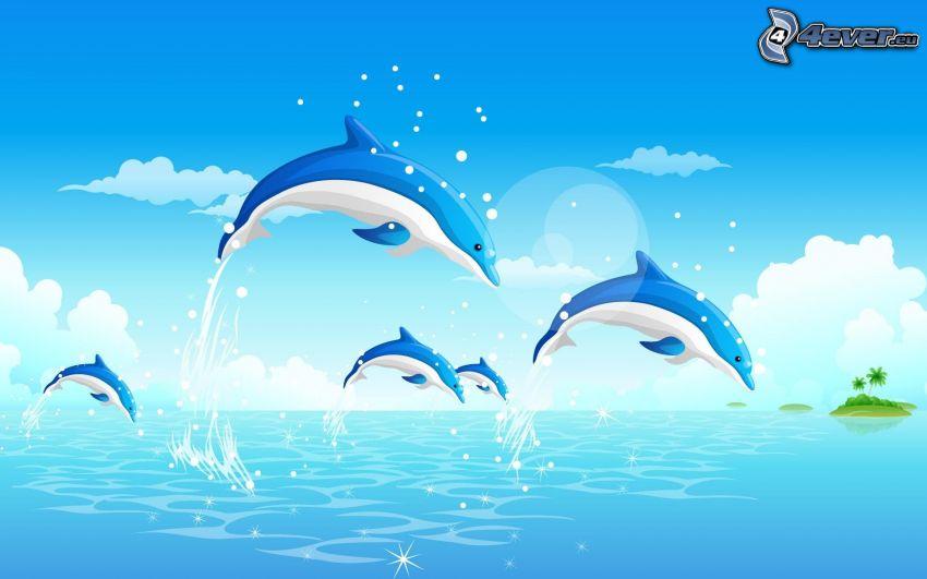 delfines saltando, delfines animados