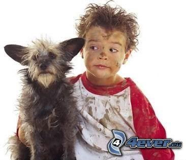 perro y su señor, niño