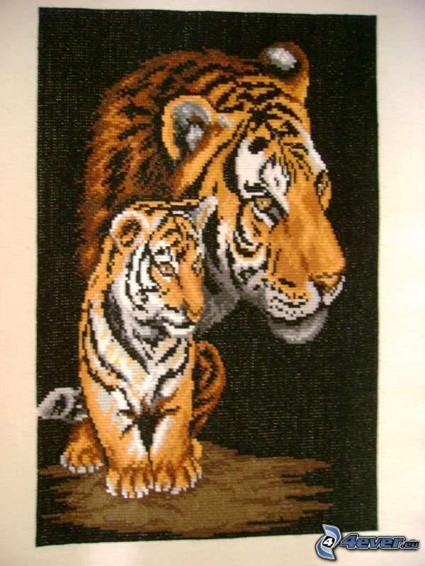 tigre, animal, alfombra