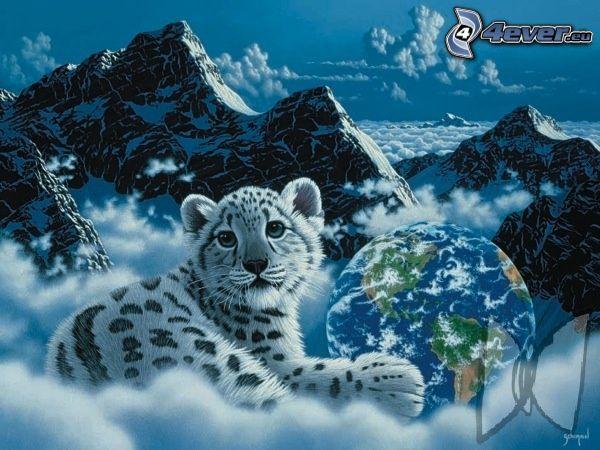tigre blanco, Tierra, montañas, nubes