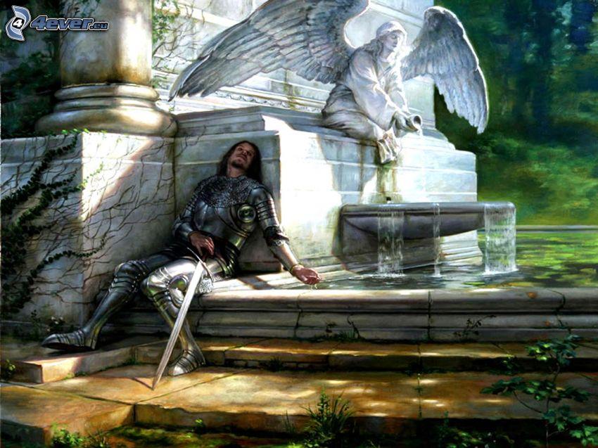 caballero, fatiga, estatua de un ángel, fuente, agua