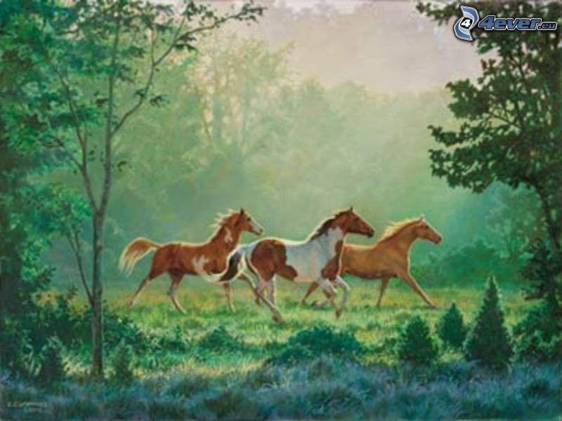 caballos en un prado, caricatura de caballos, árboles, naturaleza