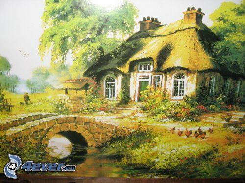 casa de la historieta, puente de piedra, dibujo, dibujos animados