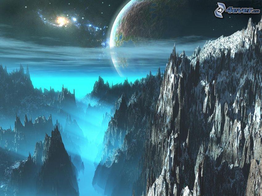 ciencia ficción planeta, universo, rocas