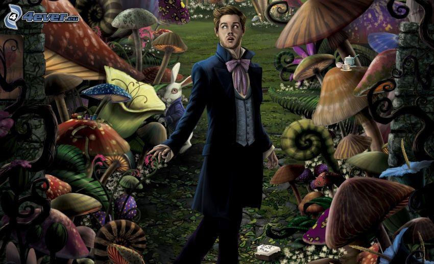 Alicia en el País de las Maravillas, hombre en traje, hongos