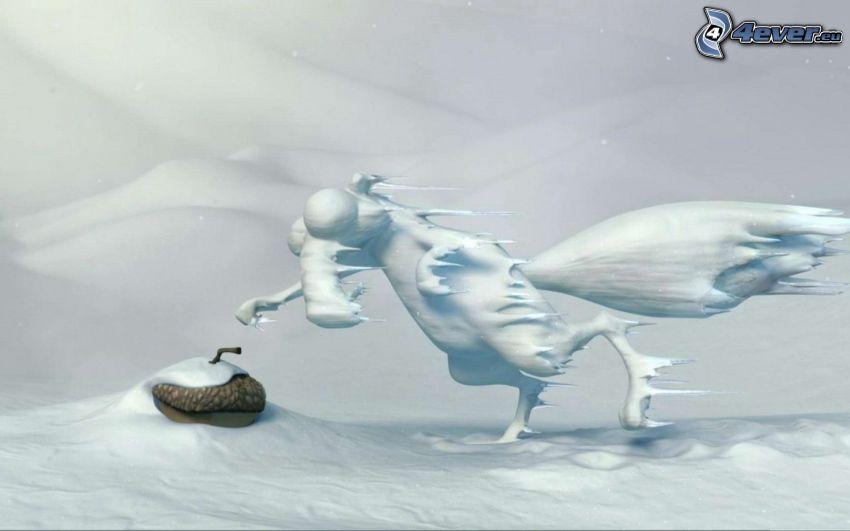 ardilla de la película Ice Age, nieve, helada, bellota
