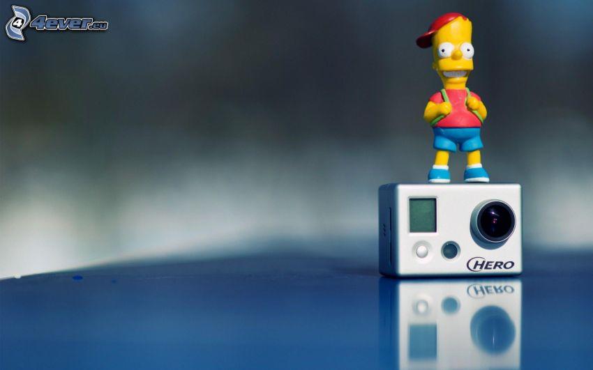 Bart Simpson, cámara, juguete