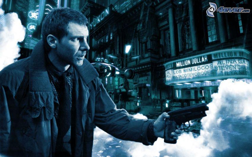 Blade Runner, hombre con arma