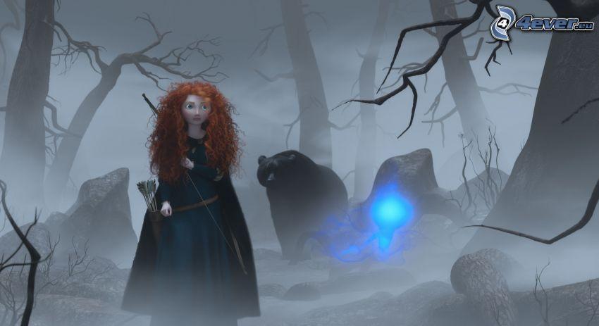 Brave, oso, bosque, noche, niebla
