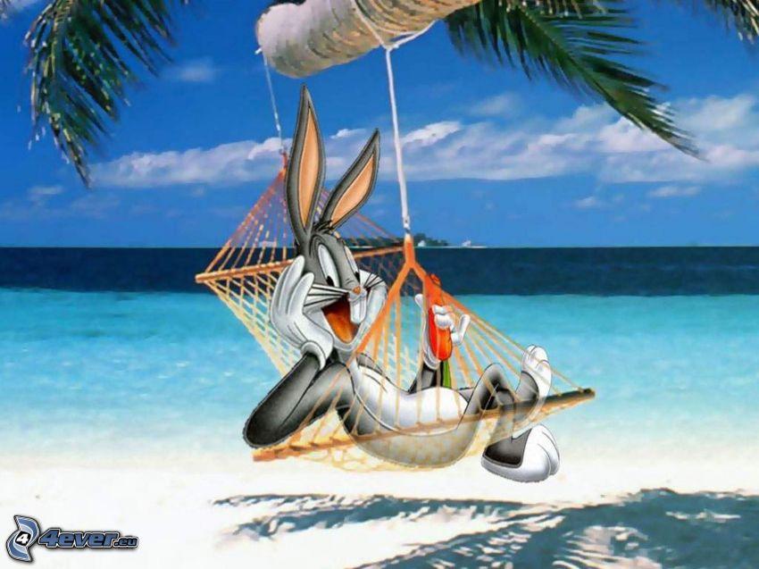 Bugs Bunny, tumbarse en una red, mar, Looney Tunes