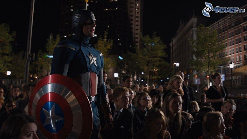 Captain America, multitud