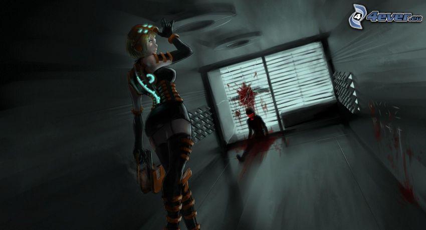 Dead Space, caricatura de mujer, asesinato