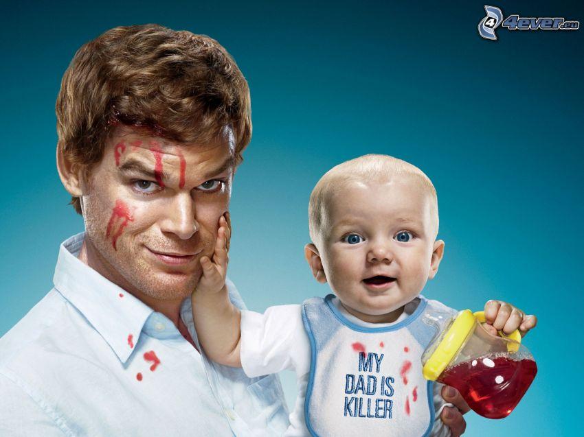 Dexter, papá, bebé
