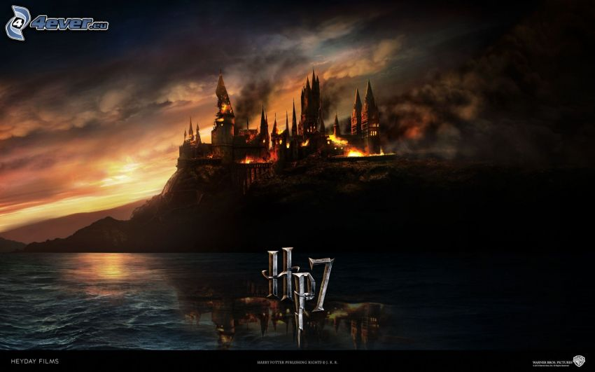 Harry Potter 7, castillo, en fuego