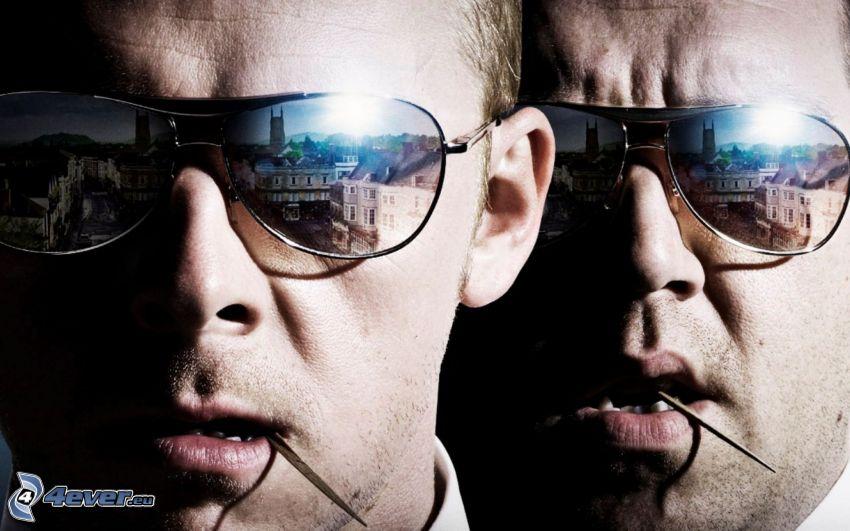 Hot Fuzz, hombres, gafas de sol