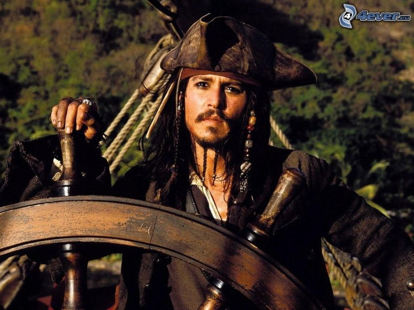 Jack Sparrow, Johnny Depp, Piratas del Caribe, timón
