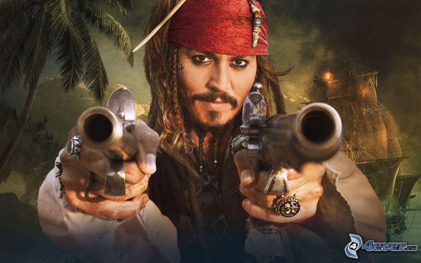 Jack Sparrow, Piratas del Caribe, Pistolas
