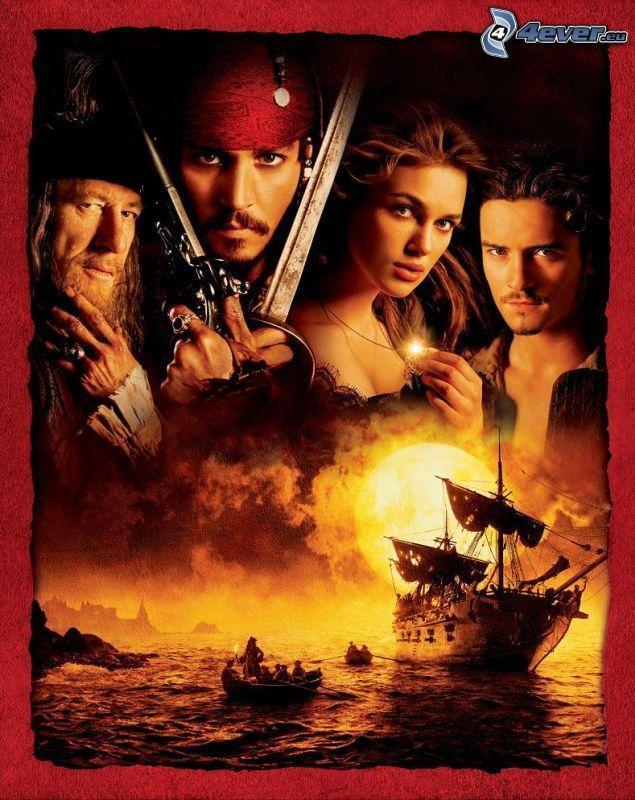 Piratas del Caribe, Jack Sparrow, perla negra, Johnny Depp, Orlando Bloom, Keira Knightley