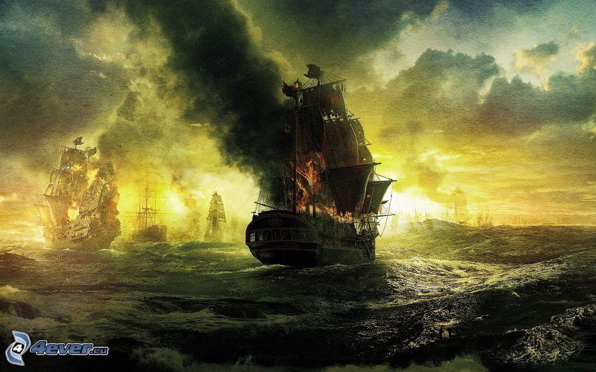Piratas del Caribe, naves, guerra