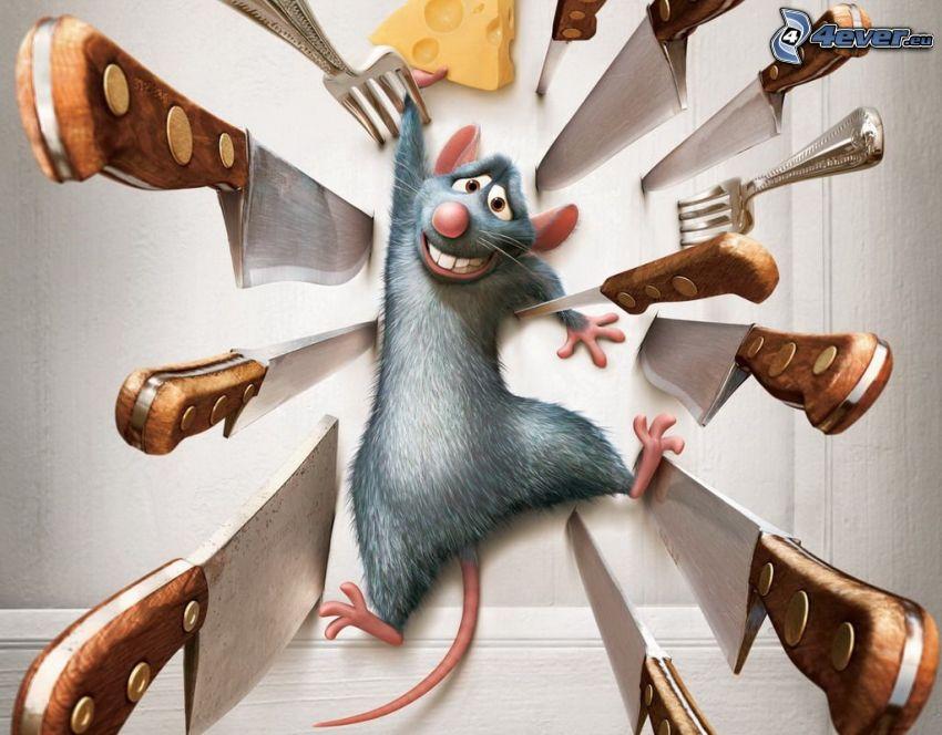 Remi, Ratatouille, cuchillos, ratón, queso