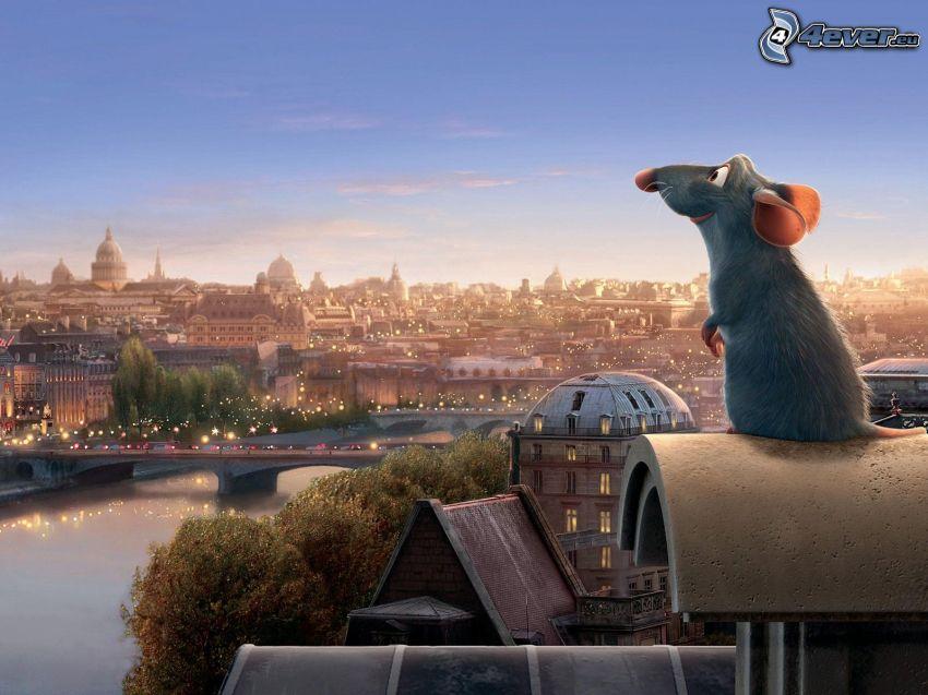 Remi, Ratatouille, París, ciudad, puente, río