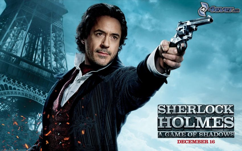 Sherlock Holmes, hombre con arma, Torre Eiffel