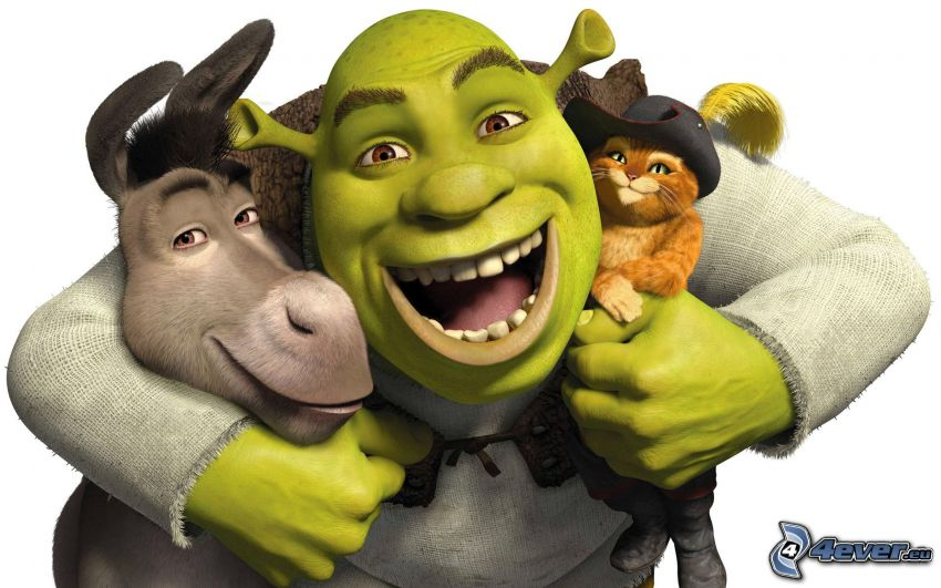 Shrek, asno, Gato en Botas, risa